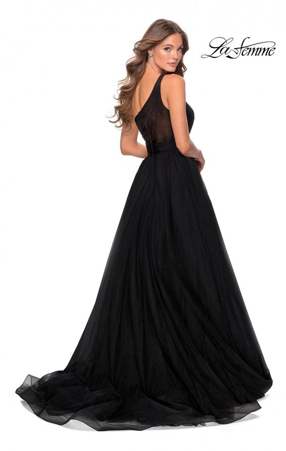 Picture of: One Shoulder Tulle Ball Gown with Pockets in Black, Style: 28383, Back Picture