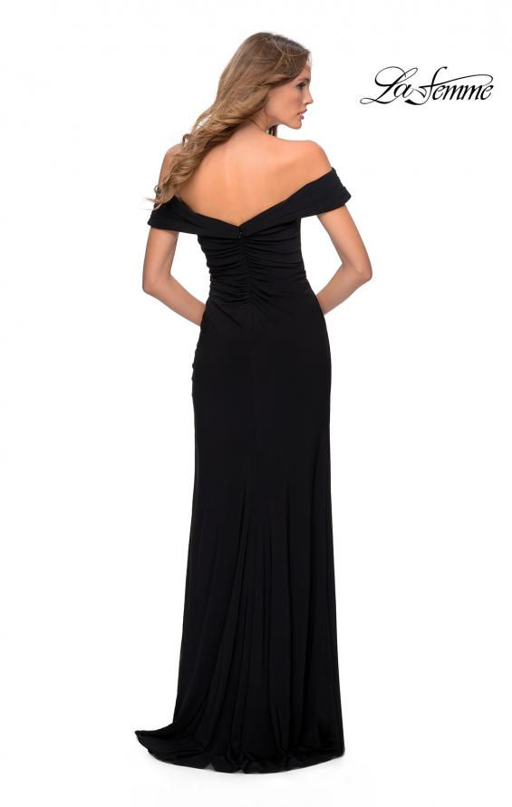Picture of: Off the Shoulder Fully Ruched Floor Length Gown in Black, Style: 28389, Back Picture