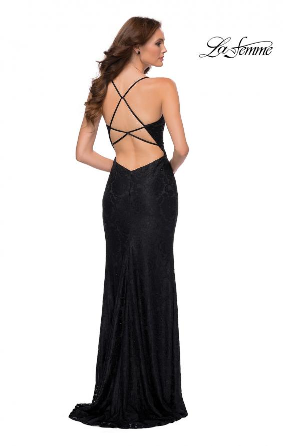 Picture of: Stretch Lace Dress with Ruffle Skirt Detail and Slit in Black, Style 29650, Back Picture