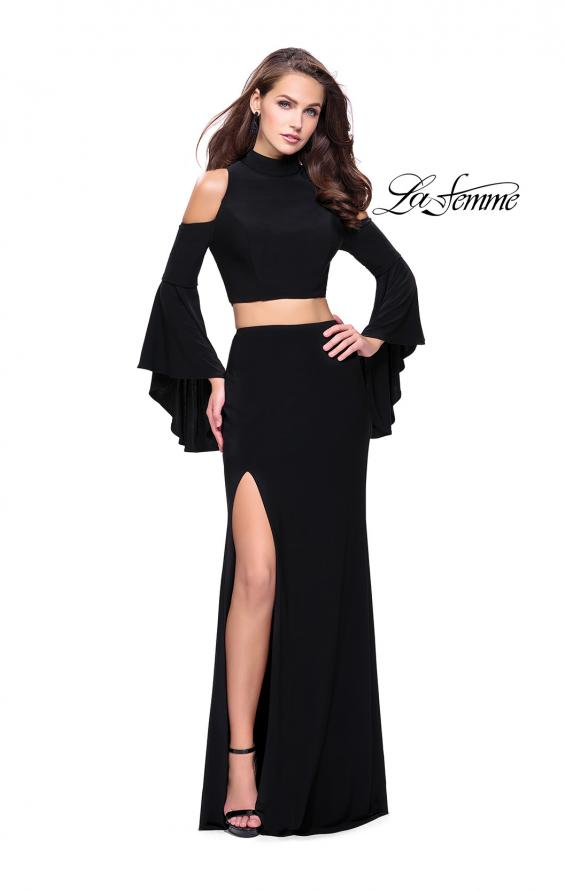 Picture of: Long Two Piece Dress with Cold Shoulders and Bell Sleeves, Style: 25353, Detail Picture 1