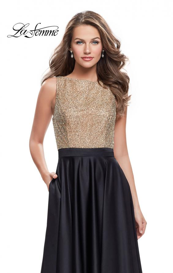 Picture of: Long A Line Dress with Beaded Top and Cut Outs, Style: 25362, Detail Picture 1