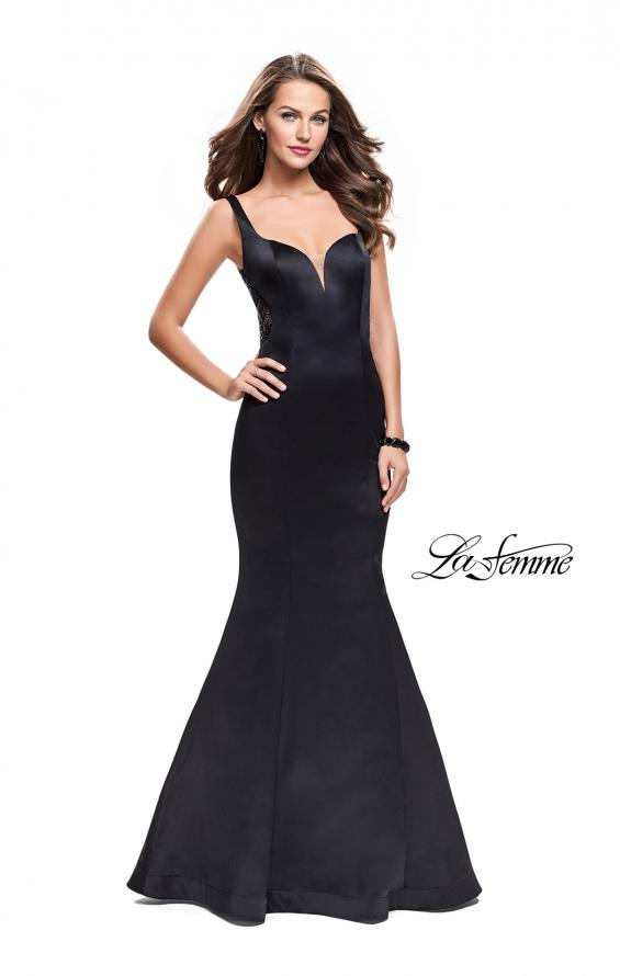 Picture of: Long Mermaid Gown with Sheer Deep V and Beading, Style: 25454, Detail Picture 1