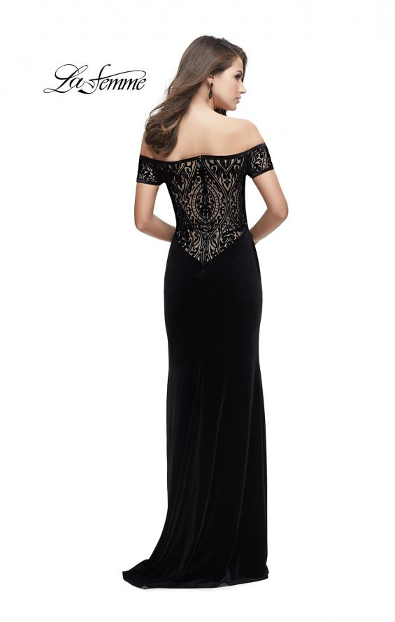 Picture of: Off the Shoulder Velvet Dress with Sheer Burnout Back in Black, Style: 25554, Detail Picture 1