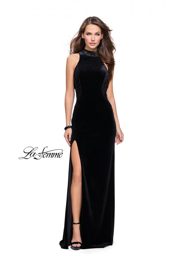 Picture of: Form Fitting Velvet Prom Dress with High Neckline in Black, Style: 25559, Detail Picture 1