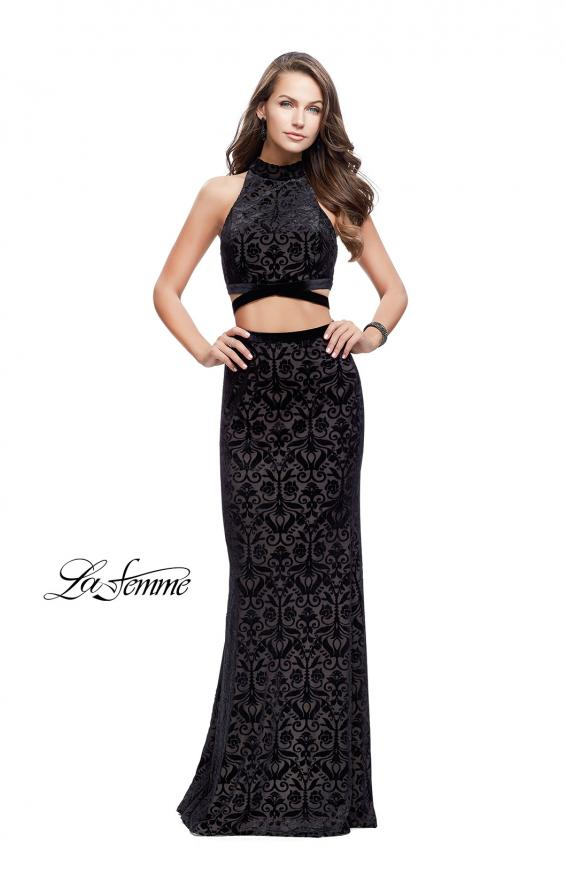 Picture of: Form Fitting Two Piece Prom Dress with Side Cut Outs in Black, Style: 25589, Detail Picture 1