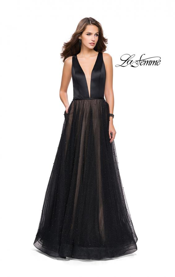 Picture of: A-line Prom Dress with Pearl Beading and a Tulle Skirt in Black, Style: 25630, Detail Picture 1