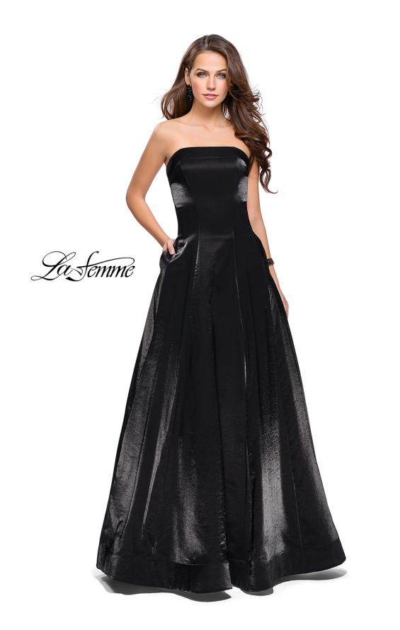Picture of: Long Strapless Two-Tone Satin Ball Gown with Pockets in Black, Style: 25638, Detail Picture 1
