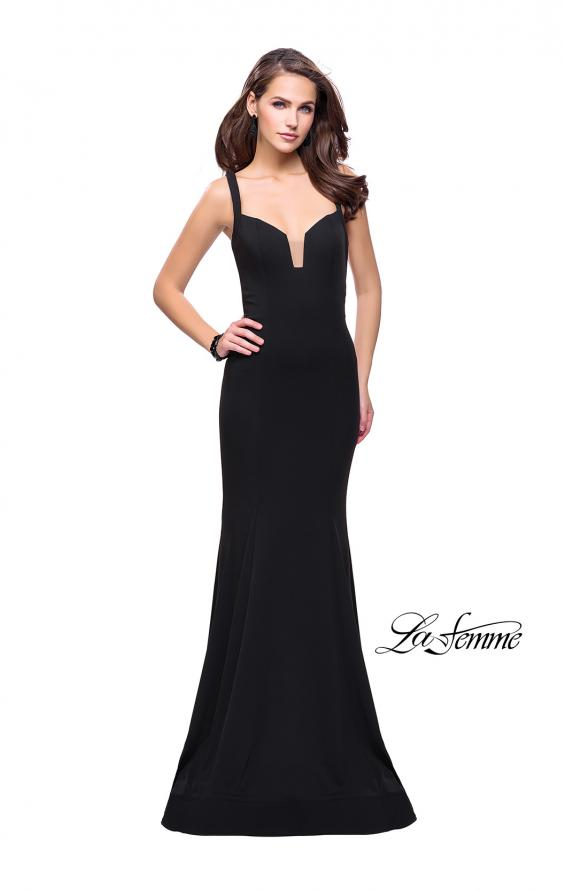 Picture of: Long Form Fitting Jersey Prom Dress with Open Back in Black, Style: 25651, Detail Picture 1
