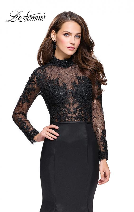 Picture of: Long sleeve Mermaid Mikado Prom Dress with Beading in Black, Style: 25677, Detail Picture 1