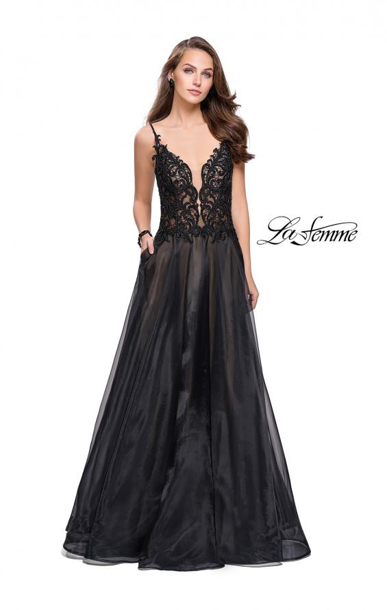 Picture of: A-line Ball Gown with Organza Skirt and Beaded Bodice in Black, Style: 25701, Detail Picture 1