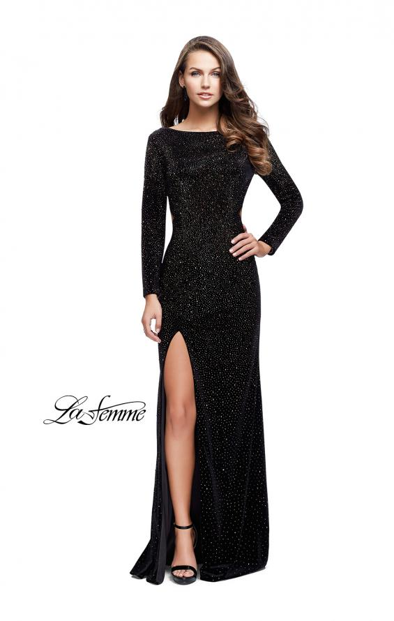 Picture of: Sparkling Velvet Prom Dress with Boat Neckline in Black, Style: 25727, Detail Picture 1