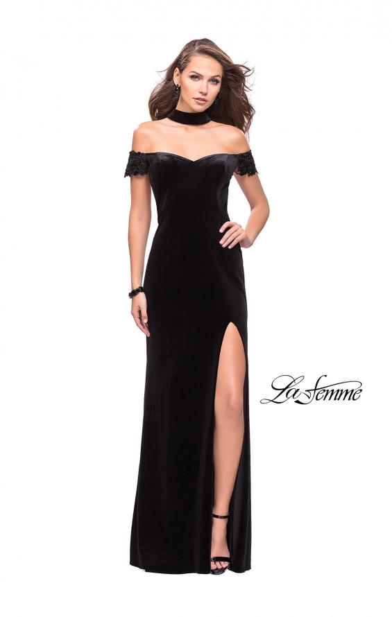 Picture of: Off the Shoulder Velvet Dress with Attached Choker in Black, Style: 25937, Detail Picture 1