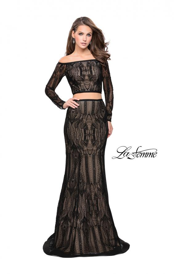 Picture of: Off The Shoulder Two Piece Dress with Long Sleeves, Style: 25983, Detail Picture 1