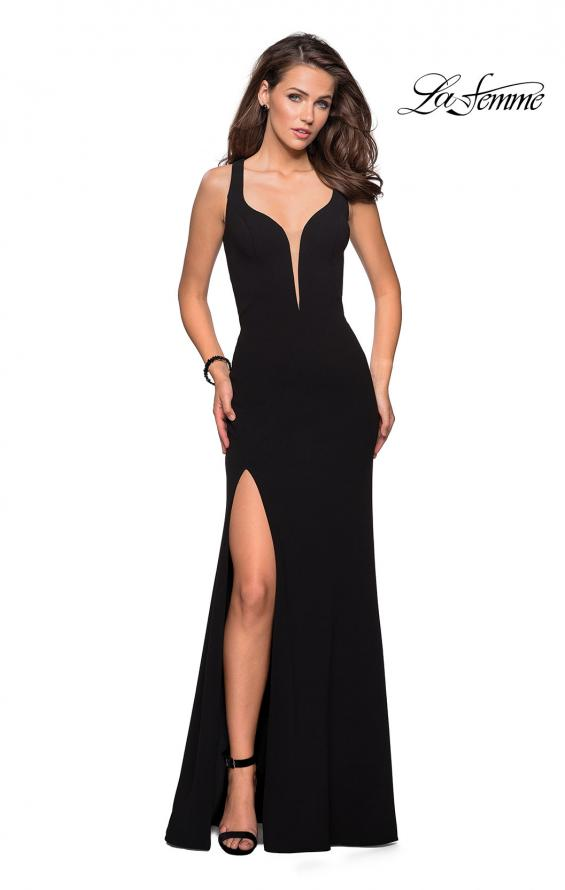Picture of: Long Jersey Prom Dress With Exposed Back Zipper, Style: 27031, Detail Picture 1