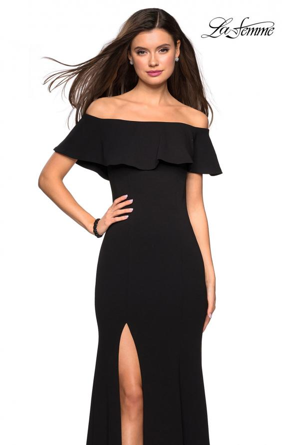 Picture of: Long Off The Shoulder Prom Dress with Side Slit in Black, Style: 27096, Detail Picture 1