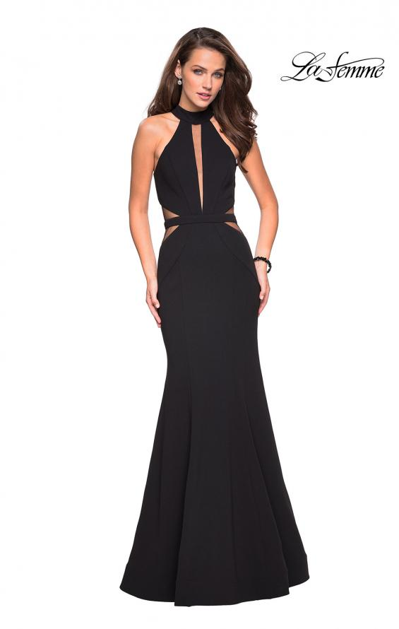Picture of: Black Jersey Dress with High Neckline and Cut Outs in Black, Style: 27147, Detail Picture 1