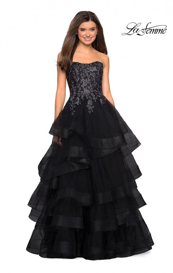 Picture of: Strapless Floor Length Layered Tulle Prom Gown, Style: 27291, Detail Picture 1