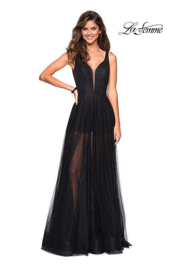 Picture of: Long Prom Dress with Sheer Skirt and Shorts in Black, Style: 27457, Detail Picture 1