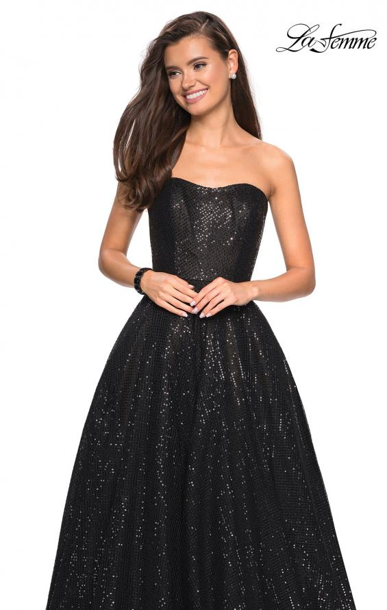 Picture of: Black Strapless Fully sequin Formal Prom Gown in Black, Style: 27467, Detail Picture 1