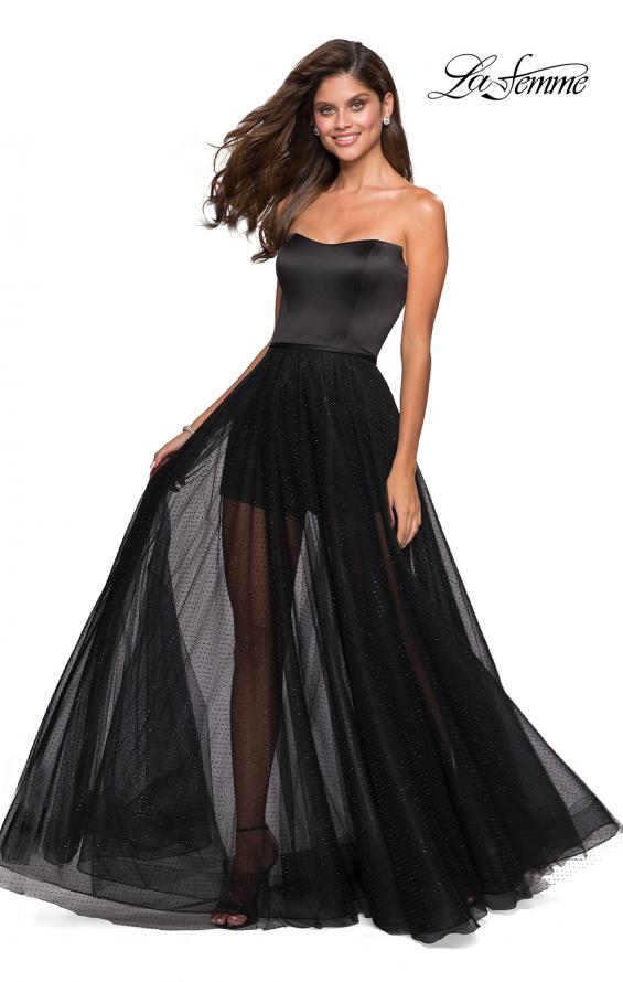 Picture of: Strapless Gown with Tulle Rhinestone Skirt and Shorts in Black, Style: 27522, Back Picture