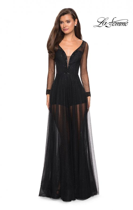 Picture of: Sheer Long Sleeve Gown with Rhinestones and Shorts, Style: 27652, Detail Picture 1