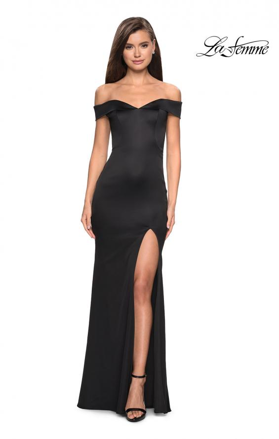 Picture of: Form Fitting Off the Shoulder Satin Prom Dress in Black, Style: 27752, Detail Picture 1