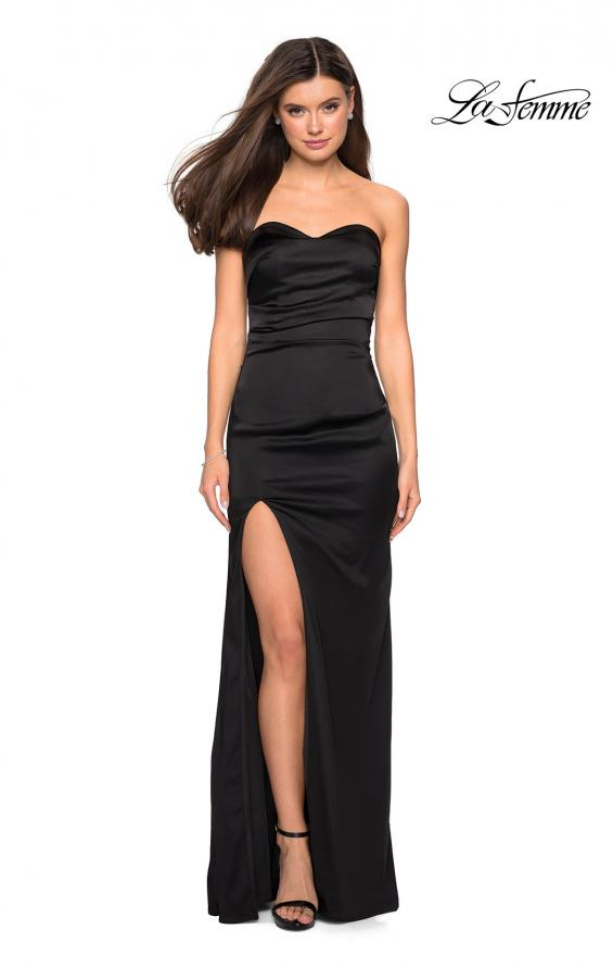 Picture of: Strapless Form Fitting Satin Dress with Side Leg Slit in Black, Style: 27787, Detail Picture 1
