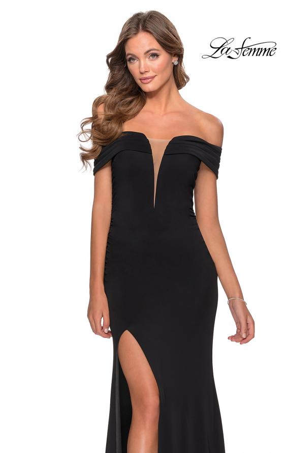 Picture of: Long Off The Shoulder Prom Dress with Deep V-Neck in Black, Style: 28132, Detail Picture 1