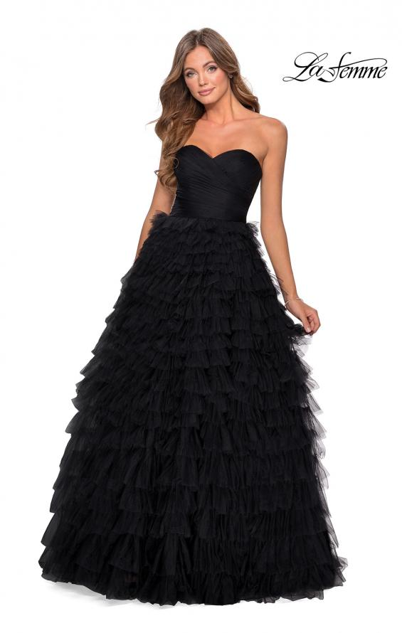 Picture of: Cascading Tulle Strapless Gown with Ruching in Black, Style: 28345, Detail Picture 1