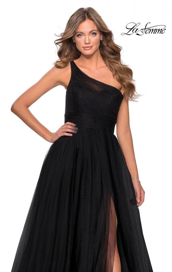 Picture of: One Shoulder Tulle Ball Gown with Pockets in Black, Style: 28383, Detail Picture 1