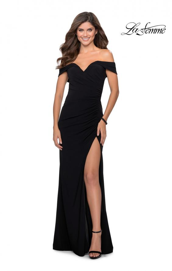 Picture of: Off the Shoulder Fully Ruched Floor Length Gown in Black, Style: 28389, Detail Picture 1