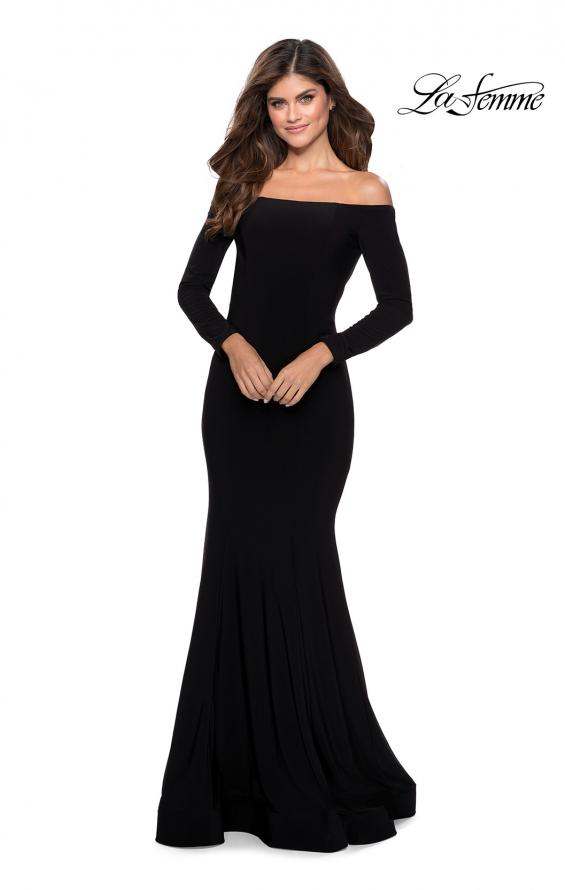 Picture of: Off the Shoulder Long Sleeve Jersey Prom Dress in Black, Style: 28754, Detail Picture 1