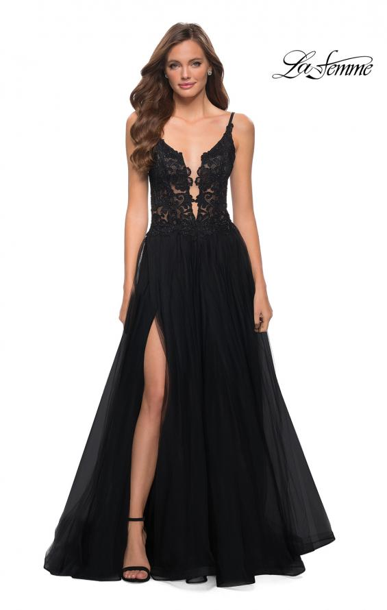 Picture of: Tulle A Line Gown with Lace Rhinestone Bodice in Black, Style 29686, Detail Picture 1