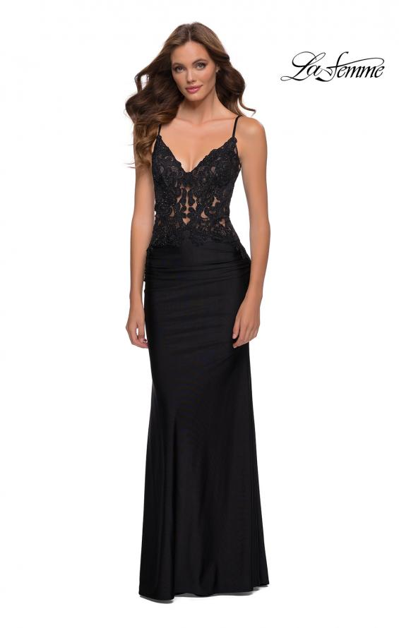 Picture of: Jersey Gown with Sheer Lace Bodice and Ruching in Black, Style 29774, Detail Picture 1