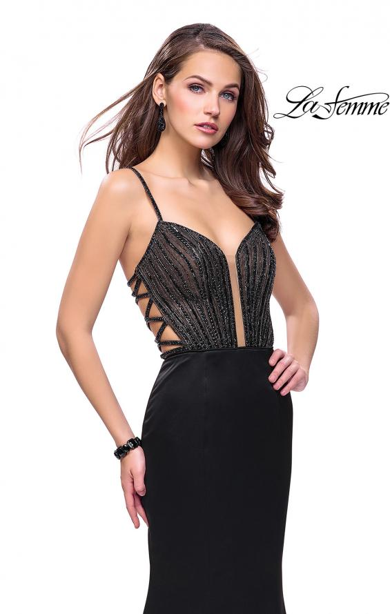 Picture of: Mermaid Prom Dress with Beaded Top and Strappy Back in Black, Style: 24691, Detail Picture 2