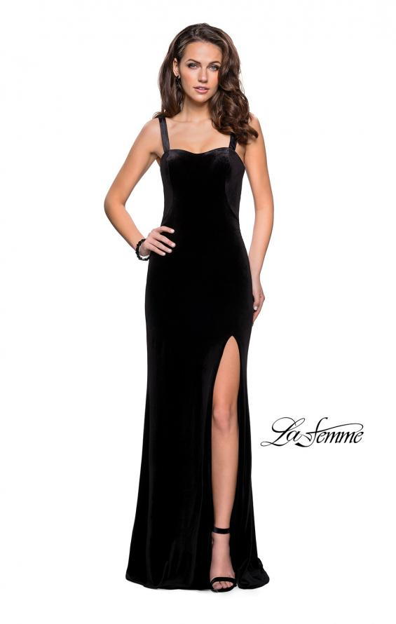 Picture of: Long Velvet Dress with Sweetheart Neckline in Black, Style: 25375, Detail Picture 2