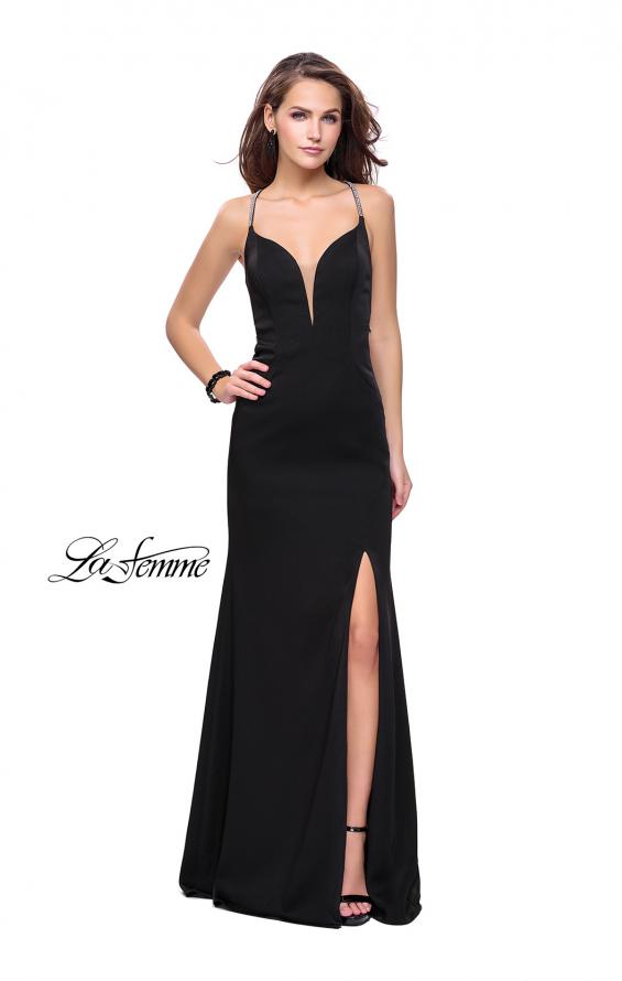 Picture of: Long Jersey Prom Dress with Plunging Neckline and Beading in Black, Style: 25398, Detail Picture 2