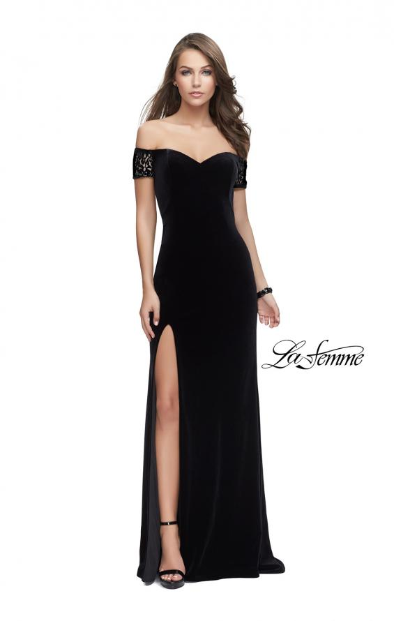 Picture of: Off the Shoulder Velvet Dress with Sheer Burnout Back in Black, Style: 25554, Detail Picture 2