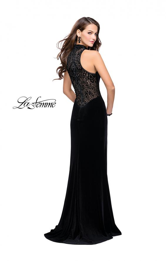 Picture of: Form Fitting Velvet Prom Dress with High Neckline in Black, Style: 25559, Detail Picture 2