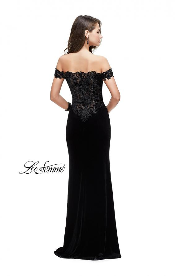 Picture of: Long Velvet Off the Shoulder Gown with Lace Detail in Black, Style: 25591, Detail Picture 2