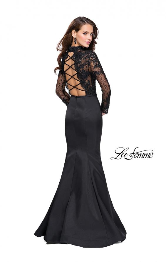 Picture of: Long sleeve Mermaid Mikado Prom Dress with Beading in Black, Style: 25677, Detail Picture 2