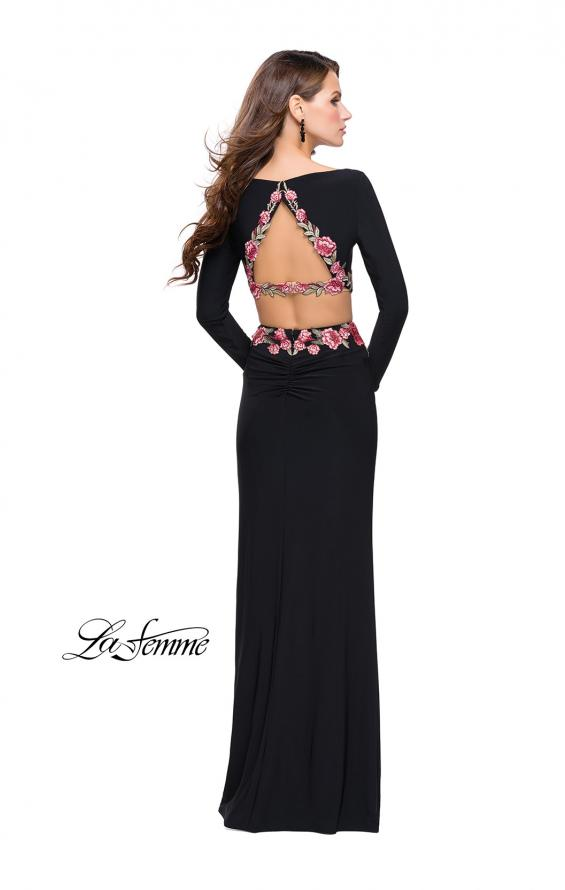 Picture of: Long Sleeve Two Piece Dress with Floral Applique in Black, Style: 25695, Detail Picture 2