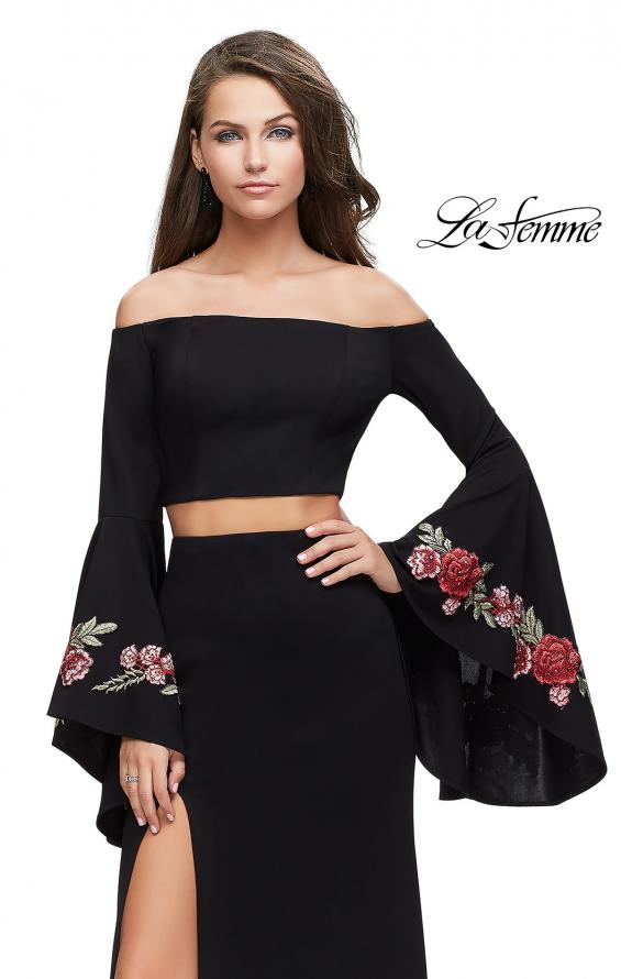 Picture of: Two Piece Off the Shoulder Dress with Long Bell Sleeves, Style: 25741, Detail Picture 2