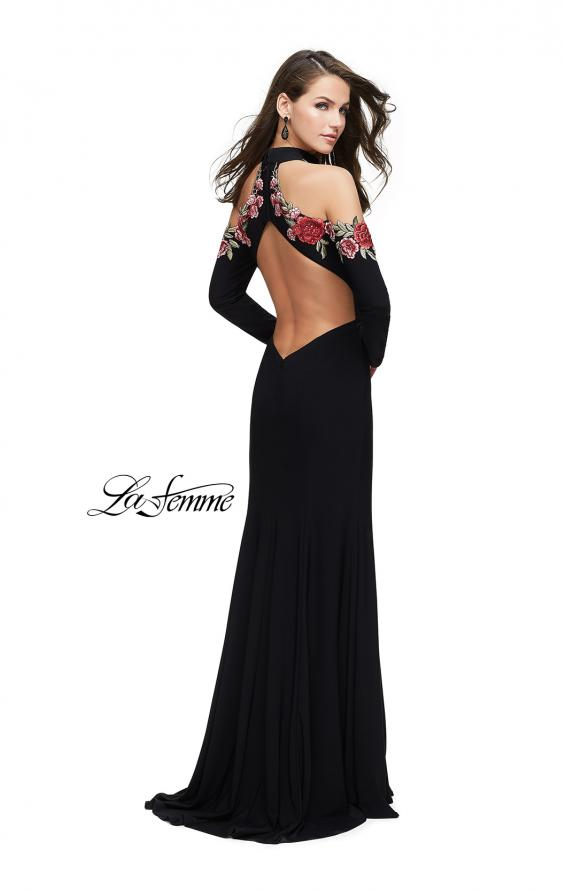 Picture of: Form Fitting Jersey Prom Dress with Floral Applique, Style: 25807, Detail Picture 2