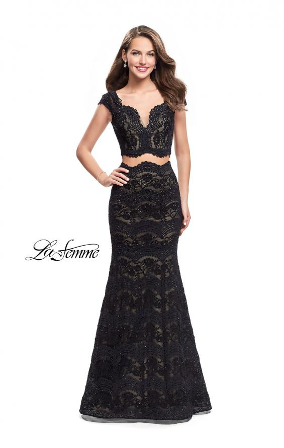 Picture of: Two Piece Mermaid Dress with Metallic Beading, Style: 25918, Detail Picture 2