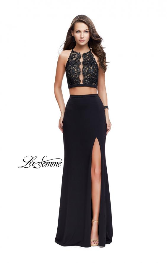 Picture of: Two Piece Prom Dress with Lace Bodice and Beading in Black, Style: 25919, Detail Picture 2