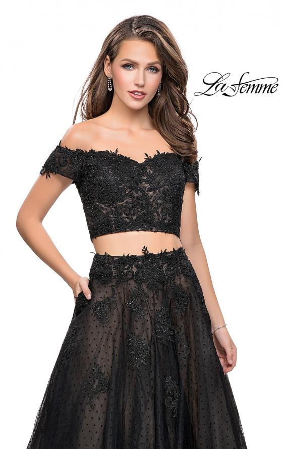 Picture of: Off the Shoulder Two Piece Gown with Polka Dot Print in Black, Style: 26110, Detail Picture 2