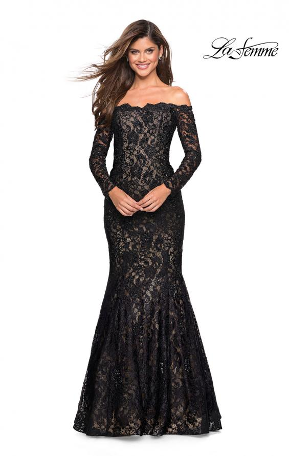 Picture of: Off the Shoulder Long Sleeve Lace Prom Gown, Style: 26393, Detail Picture 2