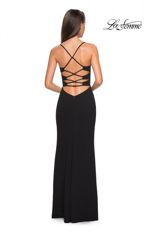 Picture of: Long Jersey Dress with Slit and Strappy Back in Black, Style: 26940, Detail Picture 2
