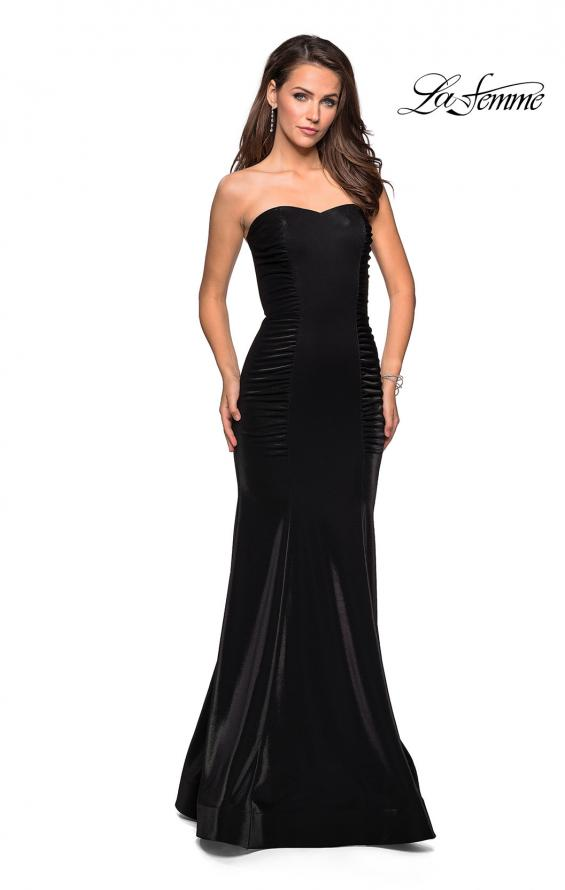 Picture of: Strapless Mermaid Prom Dress with Ruching in Black, Style: 26999, Detail Picture 2